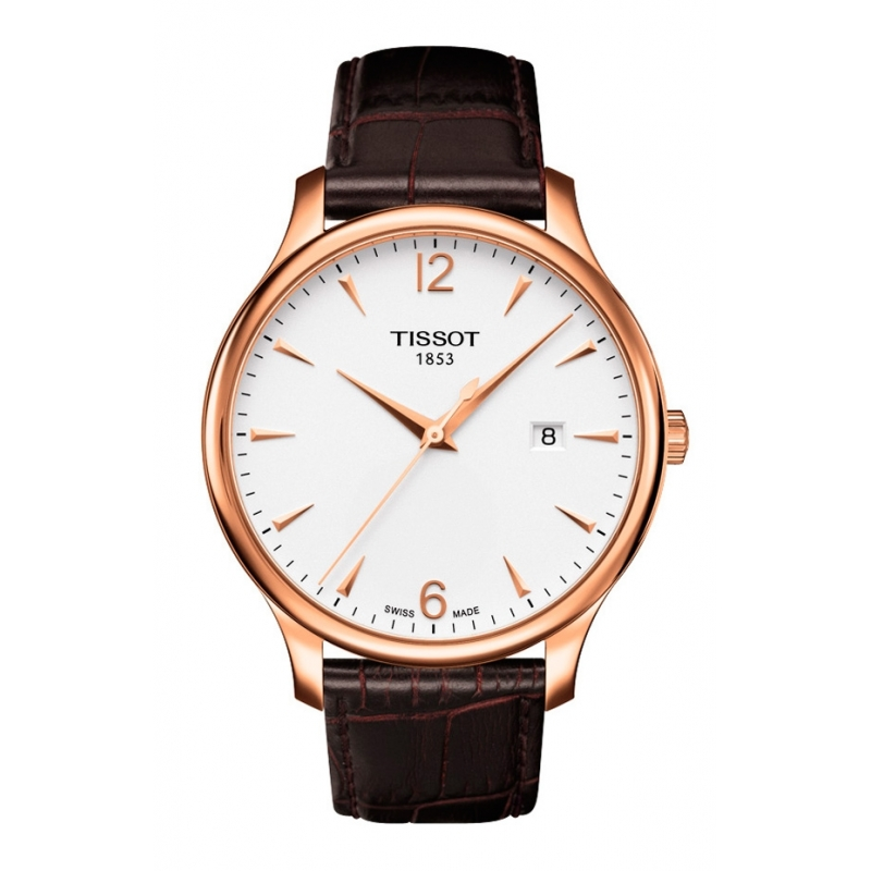 Reloj Tissot Tradiction de hombre dorado y piel T0636103603700