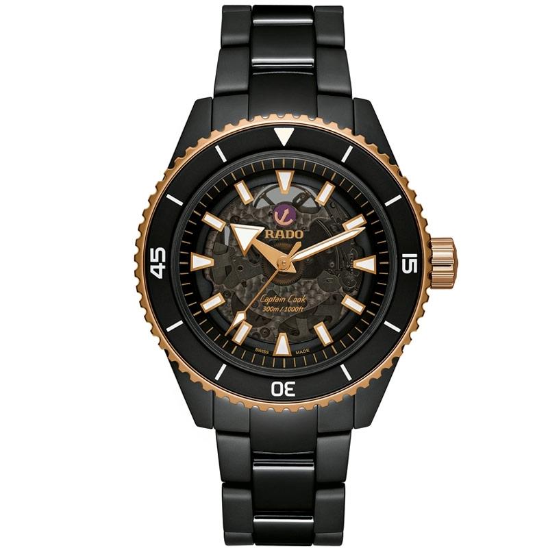 Reloj Rado Captain Cook automático en cerámica negra y detalles rosados, R32127162.