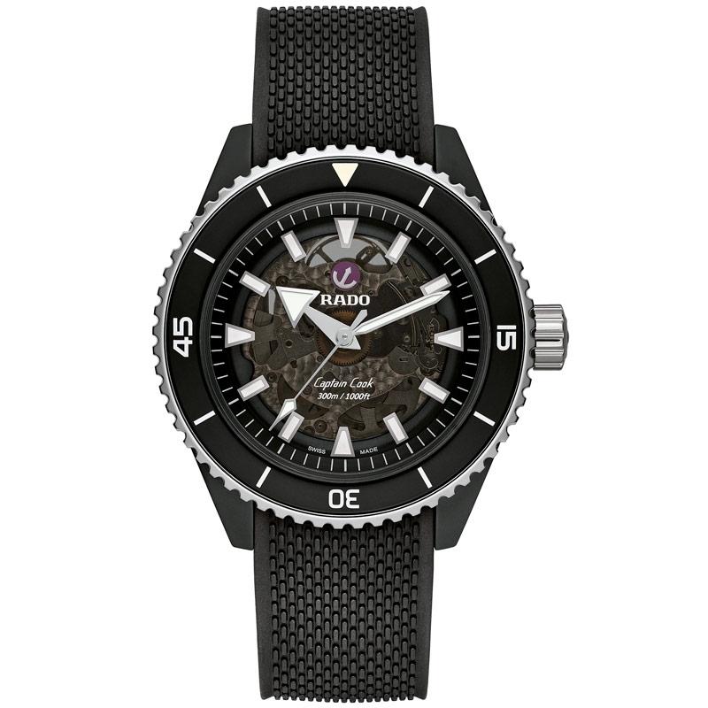Reloj Rado Captain Cook automático Skeleton, cerámica y correa negra,  R32127156.