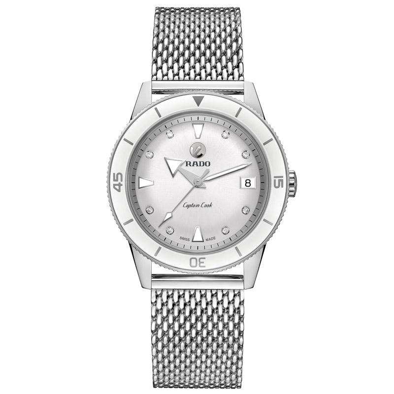Reloj Rado Captain Cook de mujer en acero y diamantes en esfera, R32500703.