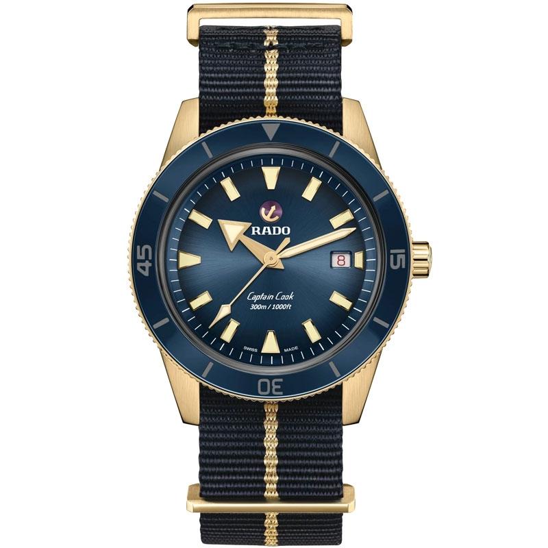 Reloj Rado Captain Cook Automatic Bronze en azul y dorado mate, R32504207.