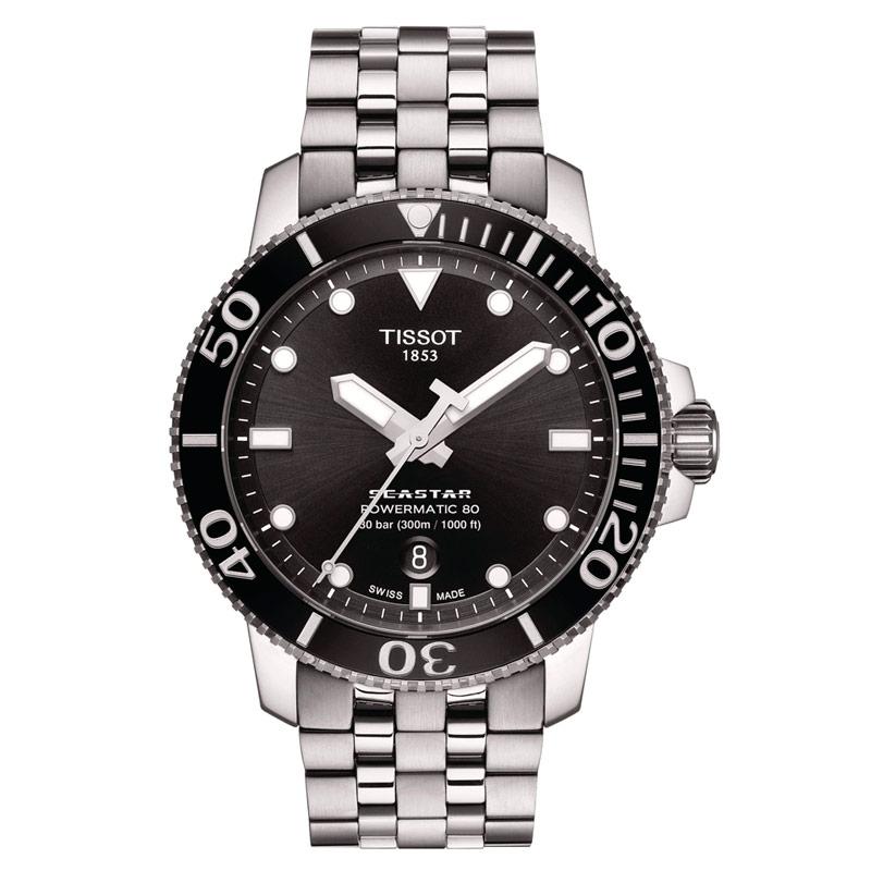 Reloj Tissot Seastar 1000 Powermatic 80 300 ms, esfera negra, T1204071105100.