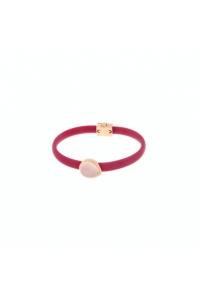 Pulsera de plata, caucho fucsia y piedra rosa, de Terero.