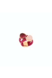 Anillo en plata y caucho fucsia con piedras rosas, de Terero.