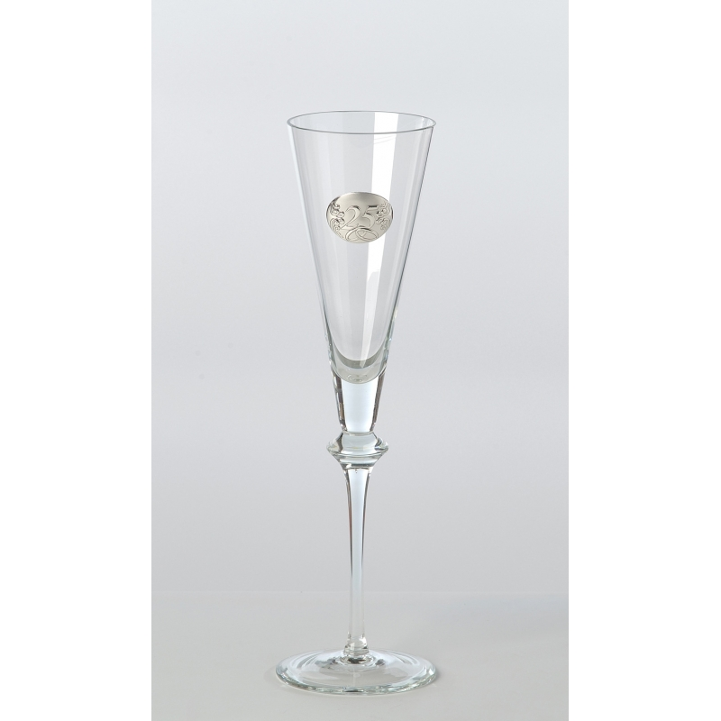 Juego de copas de cristal y plata para 25 aniversario con bandeja