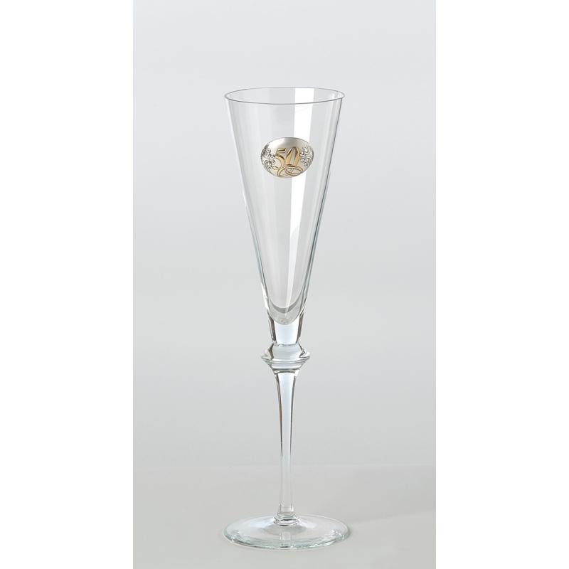 juego de copas de cristal y plata para 50 aniversario de bodas, con bandeja