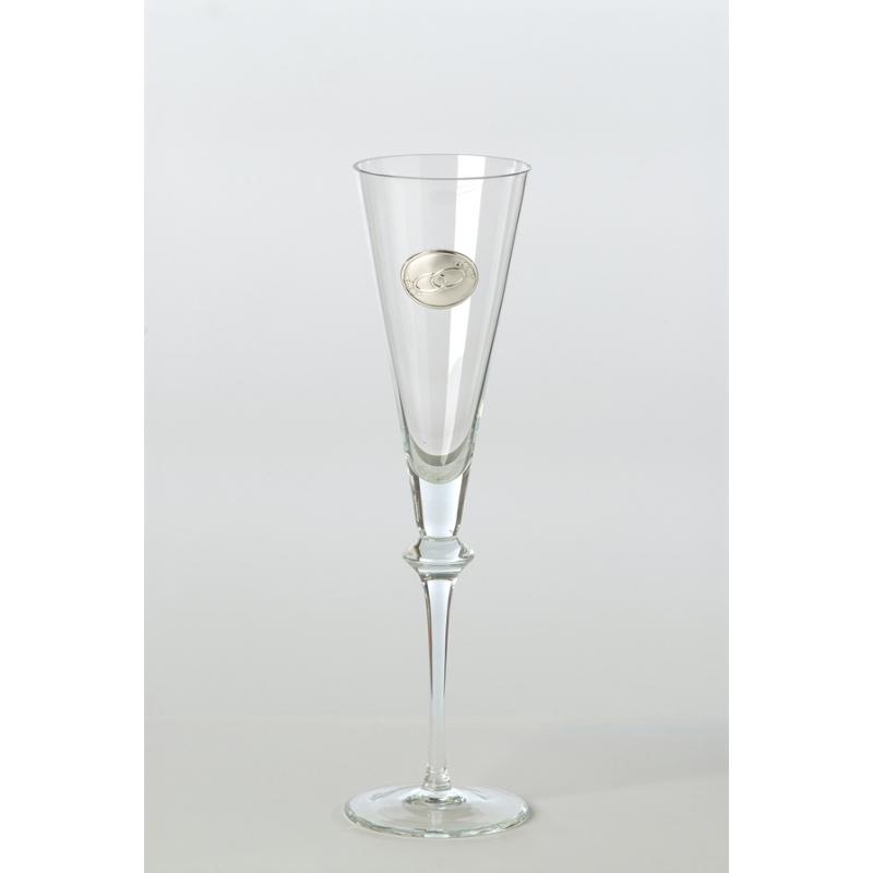 Juego de copas de cristal y plata para aniversario de bodas.