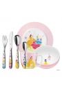 Cubiertos infantiles en acero de Princesas Disney, 7 piezas con vajilla.