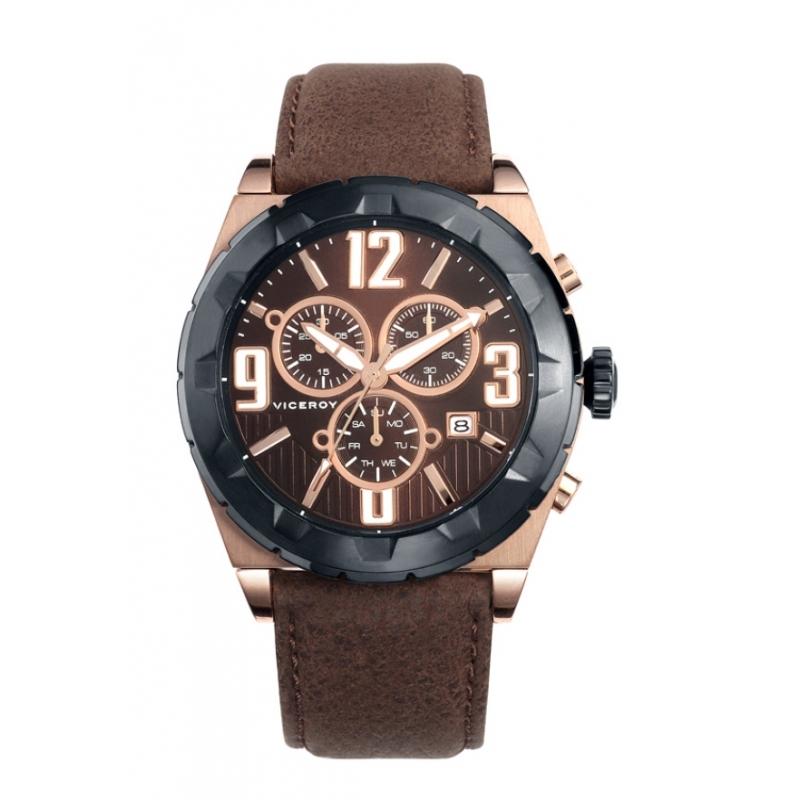 98de84164b35 Reloj Viceroy de hombre cronógrafo en dorado y piel 46523-45.