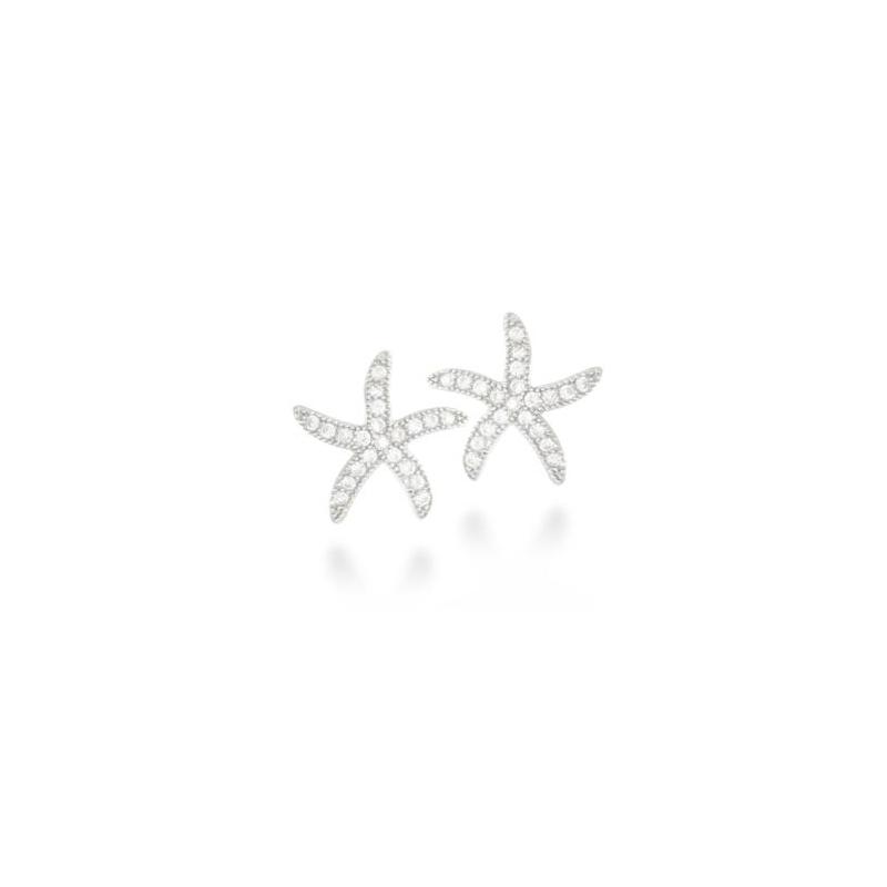 Pendientes de plata con estrella de circonitas, de Luxenter