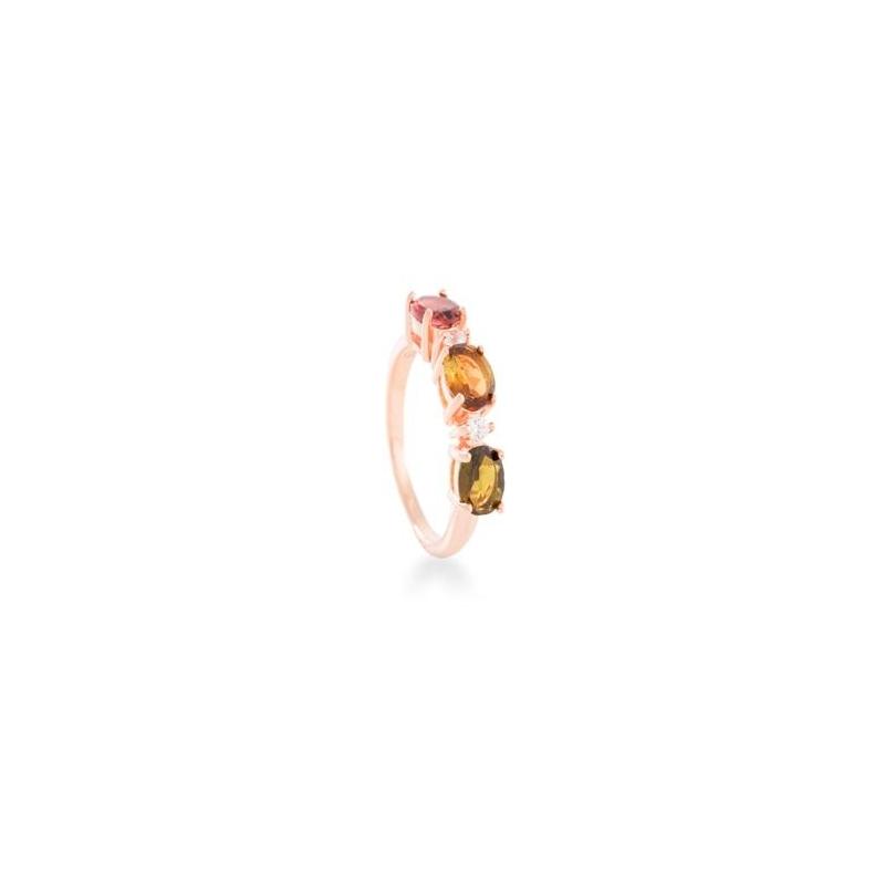 """Anillo de plata dorado en oro rosa con turmalinas """"Msiba"""" de Luxenter."""