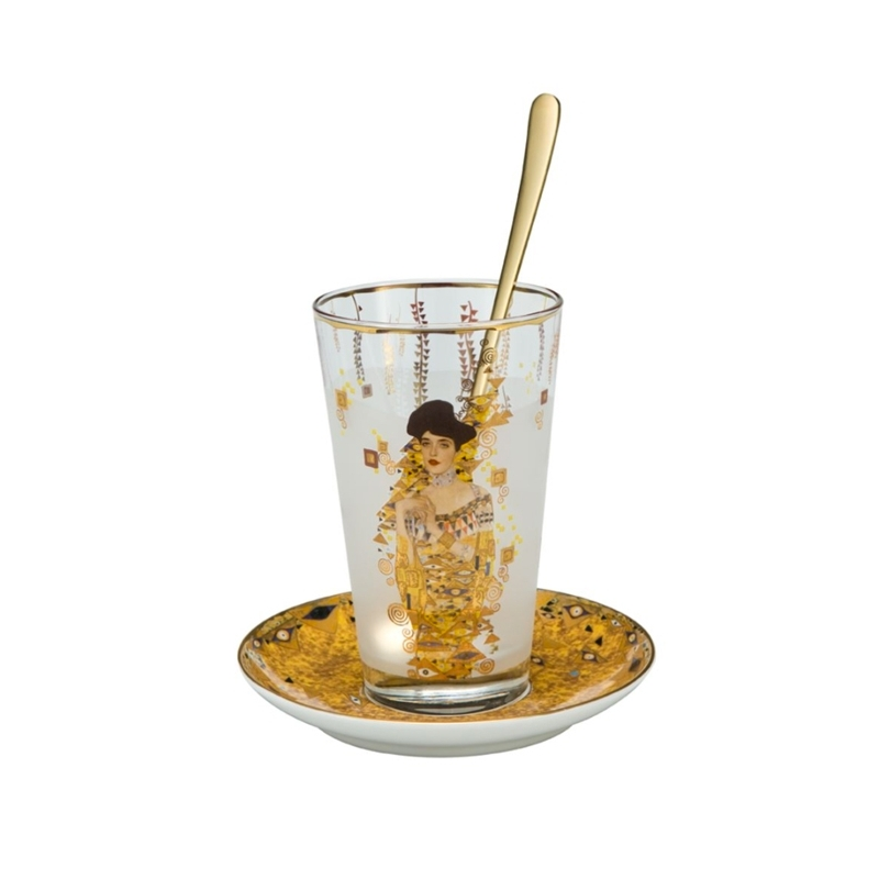 "Juego de vaso de latte machiato, cucharilla y plato ""Adele"" de Gustav Klimt, Goeble"
