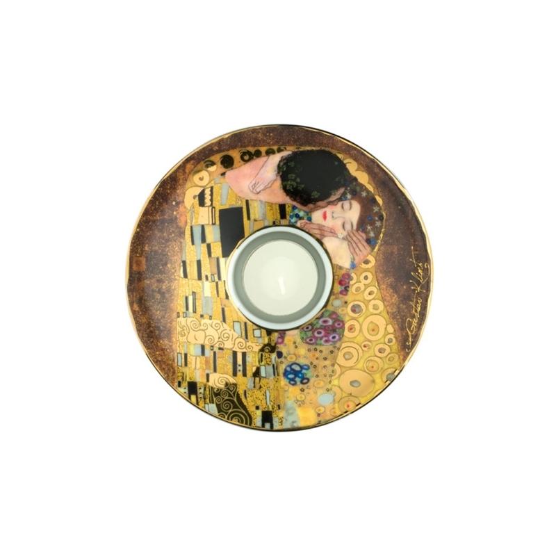 """Portavelas de porcelana """"El beso"""" de Gustav Klimt, Goeble"""