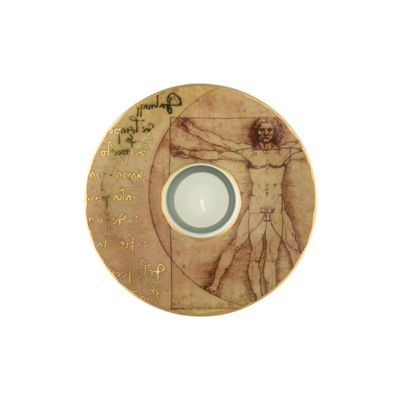 "Portavela de porcelana con ""El hombre de Vitruvio"" de Leonardo Da Vince, Goeble"