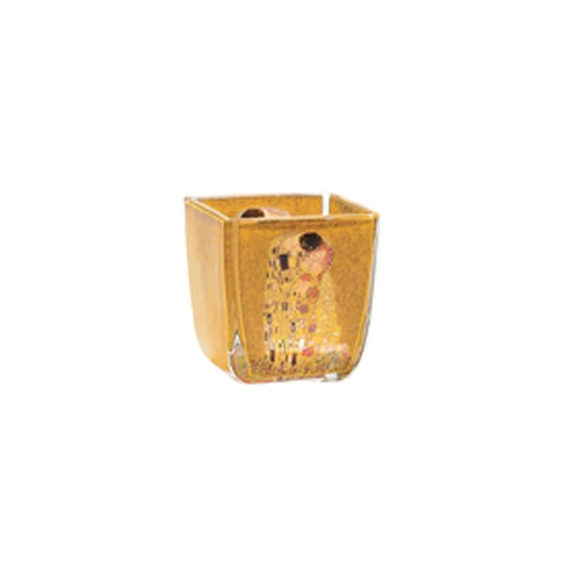 "Portavela de cristal ""El beso"" de Gustav Klimt, Goebel"