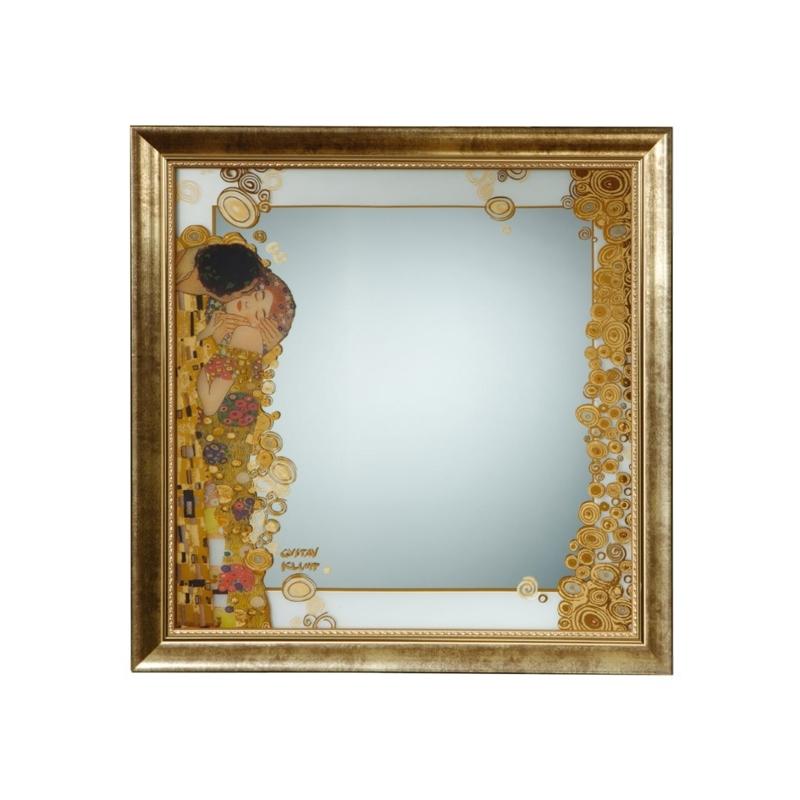 """Espejo decorado en dorado """"El beso"""" de Gustav Klimt, Goebel."""