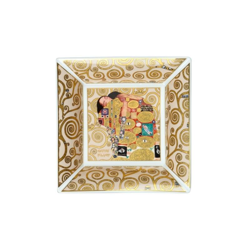 """Centro de porcelana cuadrado """"El abrazo"""" de Gustav Klimt, Goebel."""