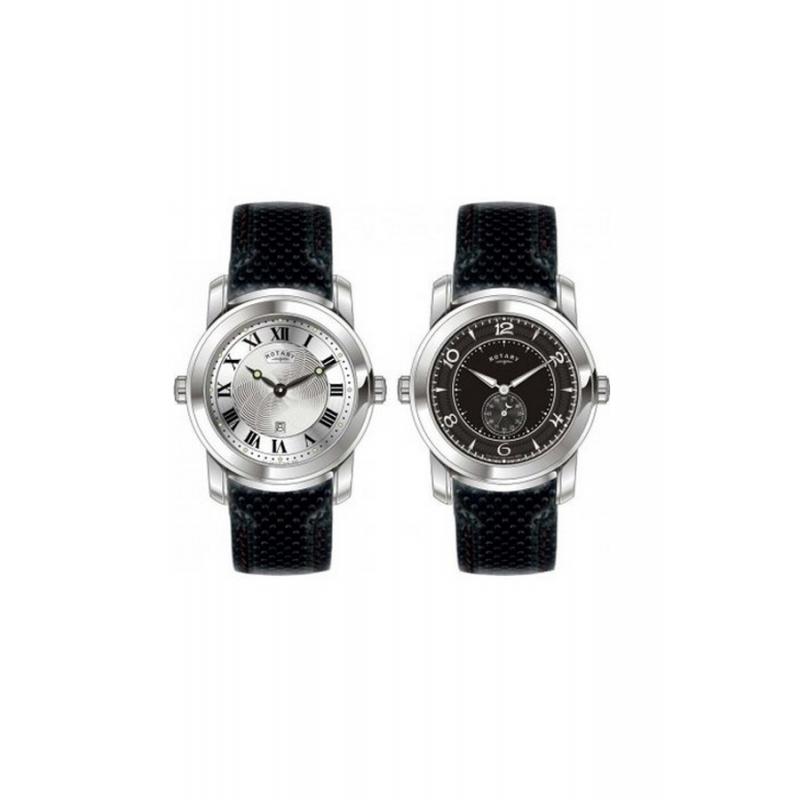 Reloj Rotary de hombre reversible correa piel negra GS90026/21/19