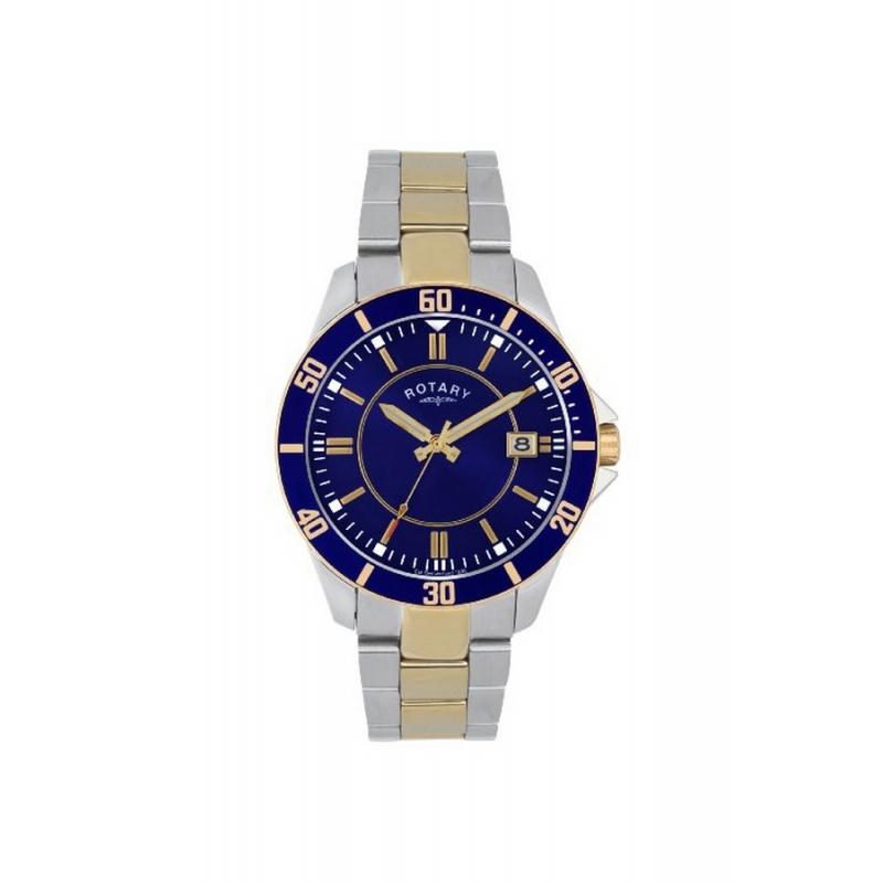 Reloj Rotary de hombre acero bicolor dorado esfera azul GB02801/05