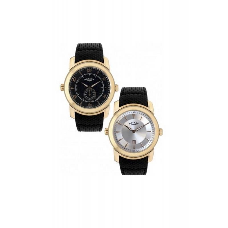 Reloj Rotary hombre reversible dorado con correa piel negra GS90028/06/19
