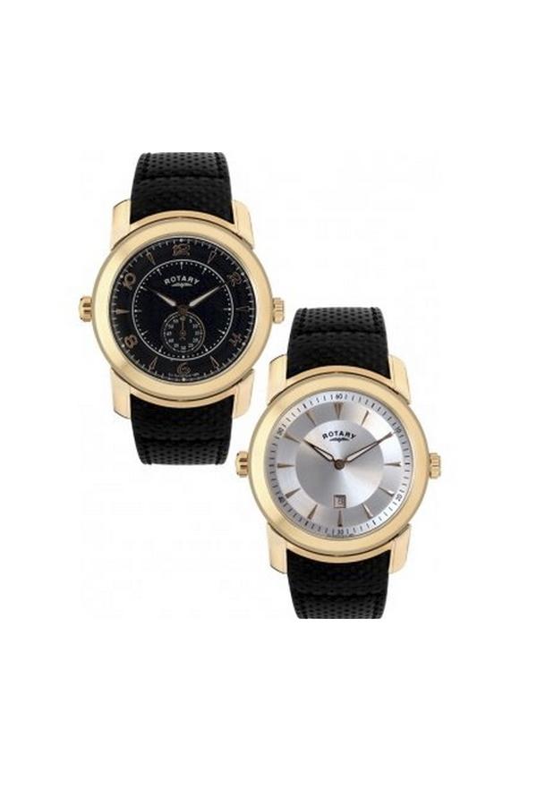 Reloj Reversible Piel Rotary Dorado Con Hombre Correa Negra Gs900280619 sQrhdCxt