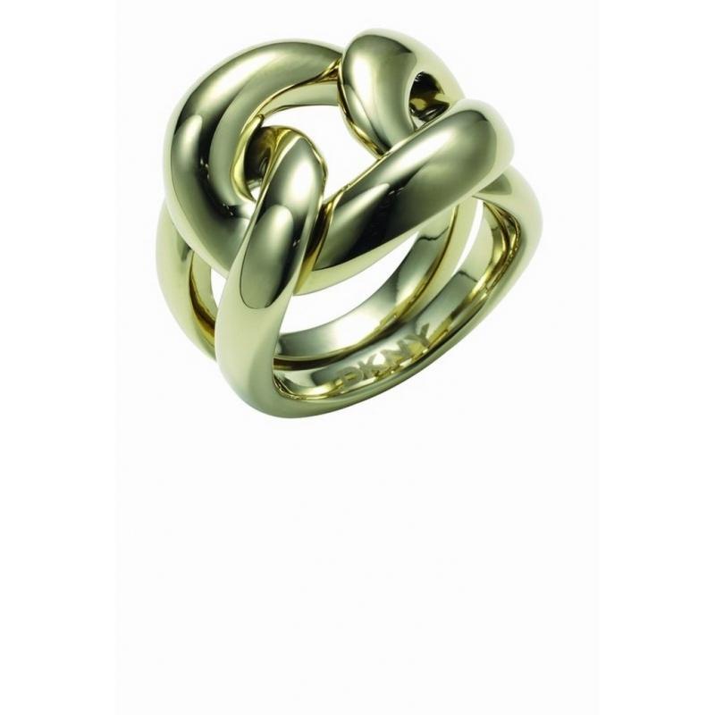 Anillo DKNY de mujer en forma de nudo, de acero dorado NJ12130405