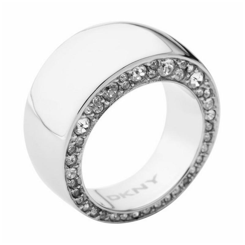 Anillo ancho de acero DKNY para mujer con circonitas NJ17990405