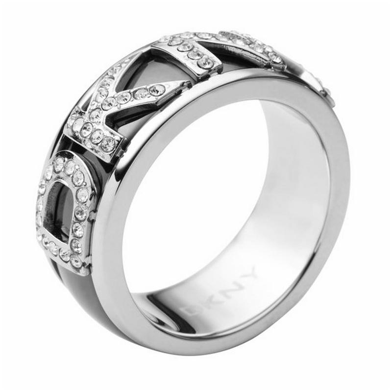 Anillo ancho de acero DKNY para mujer con circonitas NJ18400405