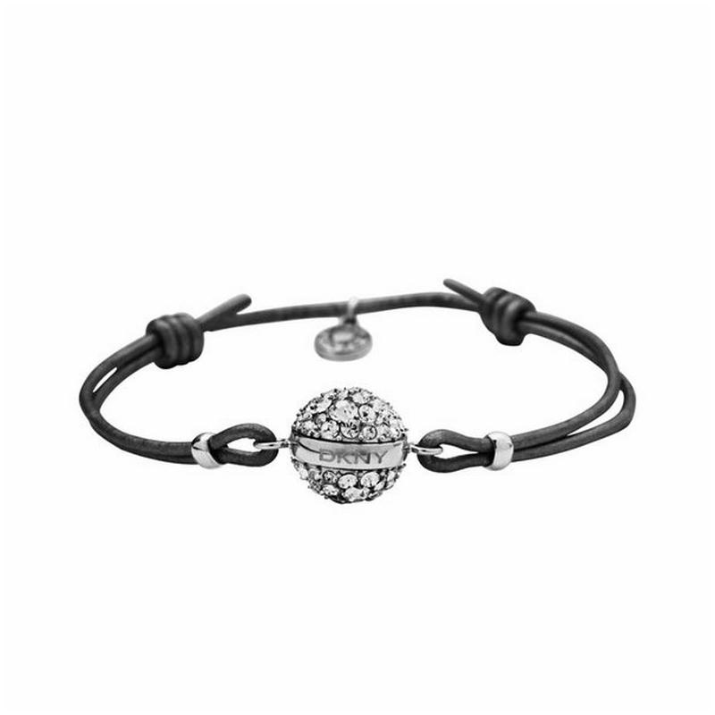 Pulsera DKNY de cuero negro y bola acero con circonitas NJ1764040