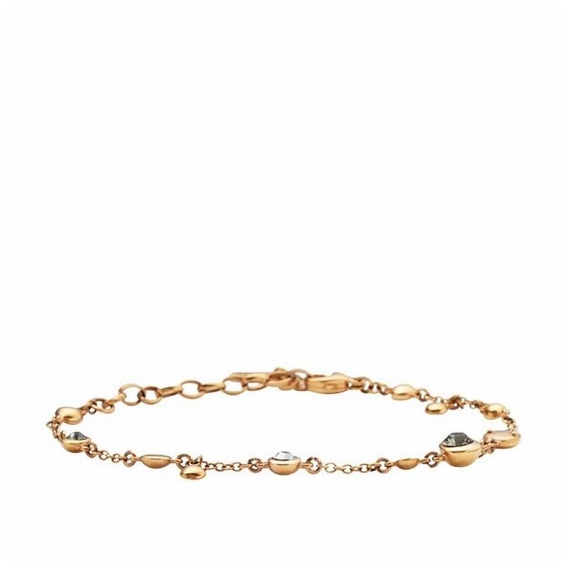 Pulsera fina DKNY de acero dorado en oro rojo y circonitas NJ1710040