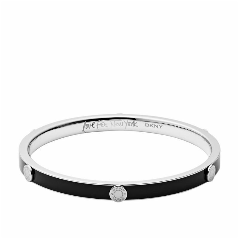 Pulsera en forma de aro DKNY de acero y esmalte negro NJ1887040