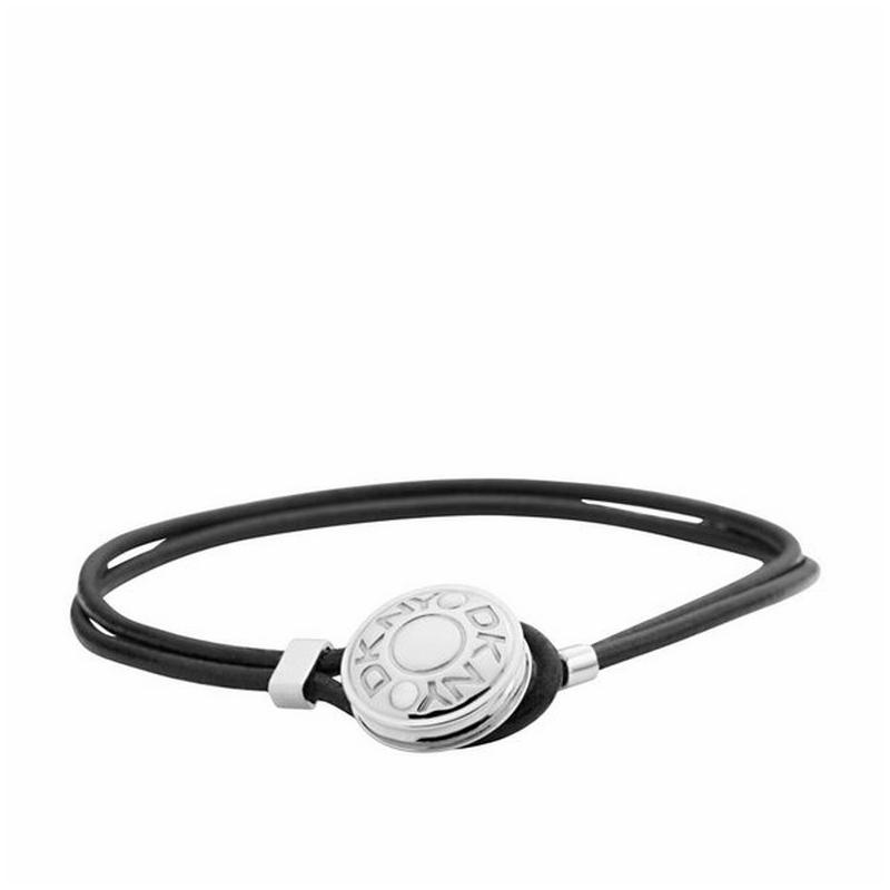 Pulsera dkny de cuero negro y cierre de acero NJ1669040