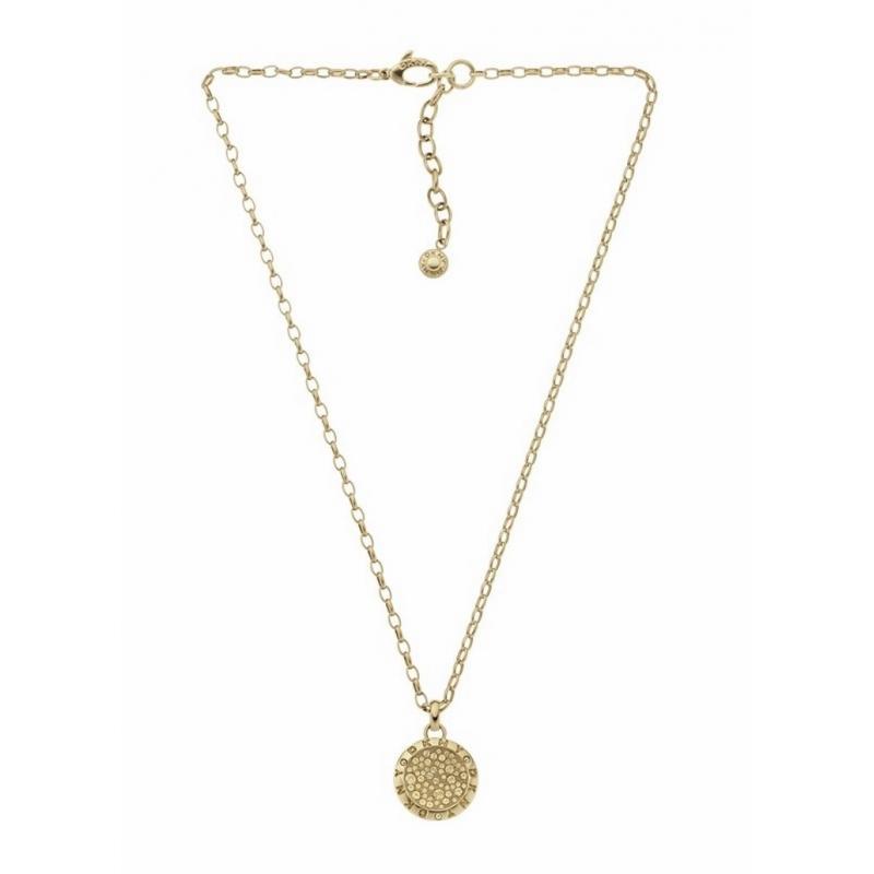 Colgante con cadena DKNY de acero dorado en oro amarillo y circonitas NJ2022040