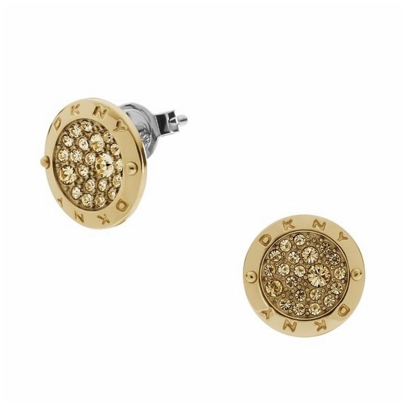 Pendientes DKNY de acero dorado oro amarillo y circonitas NJ2016040
