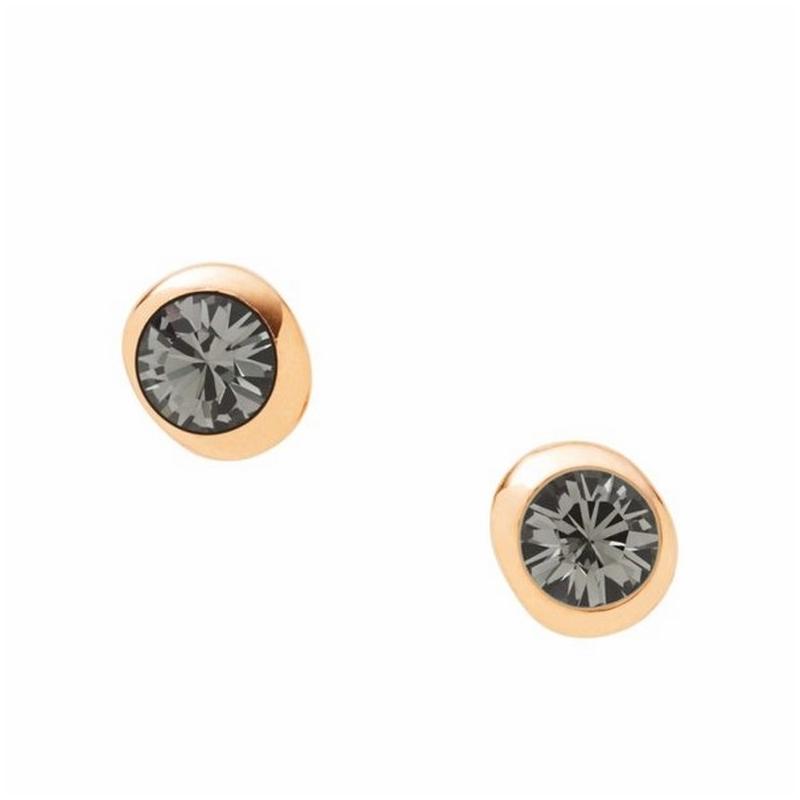 """Pendientes DKNY de acero dorado, tipo """"chatón"""" con circonita gris NJ1698040"""
