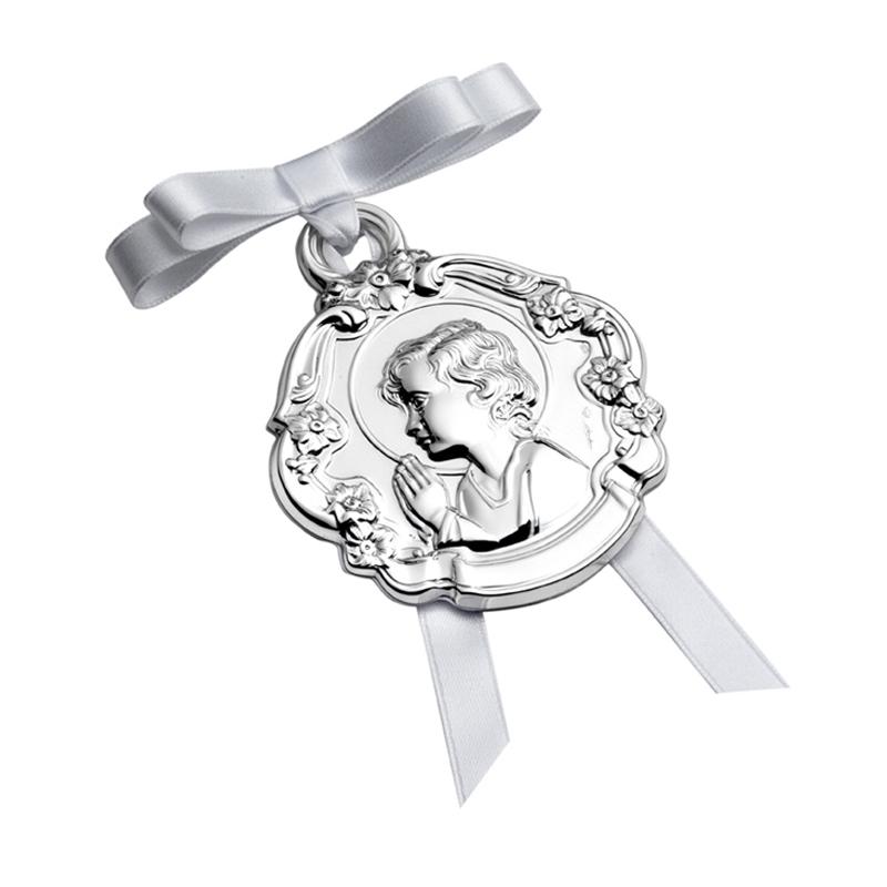 Medalla de cuna en plata de ley con Niño Jesús, de Pedro Durán