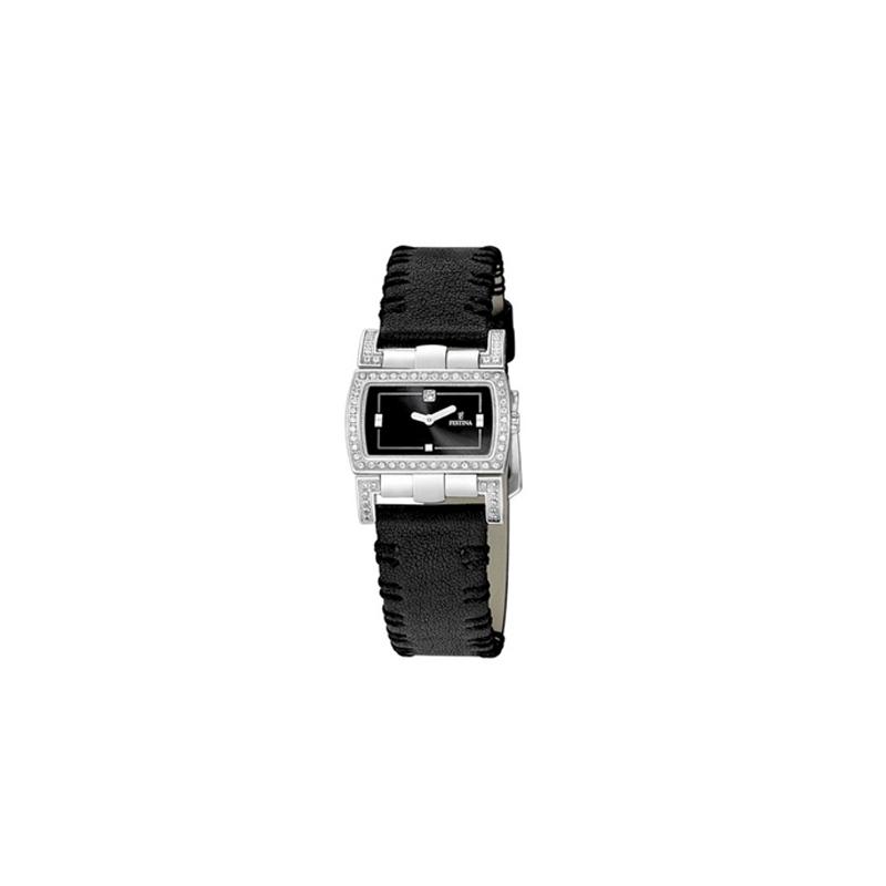 Reloj Festina de mujer con correa de piel negra y circonitas F16318/3