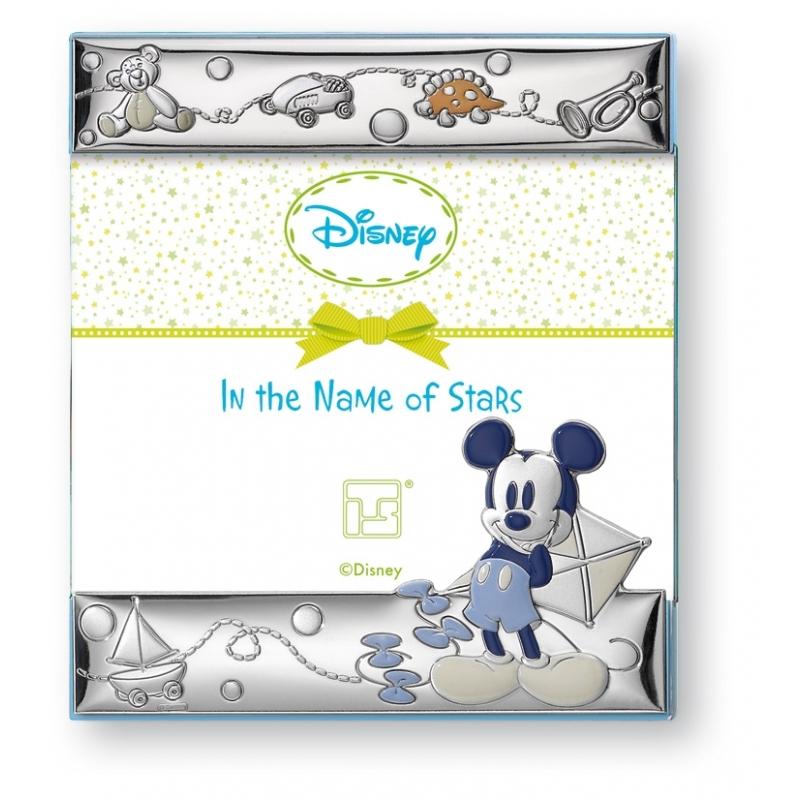 """Marco de plata para niño """"Mickey"""" con esmalte 13x18 cms, de Italsilver"""
