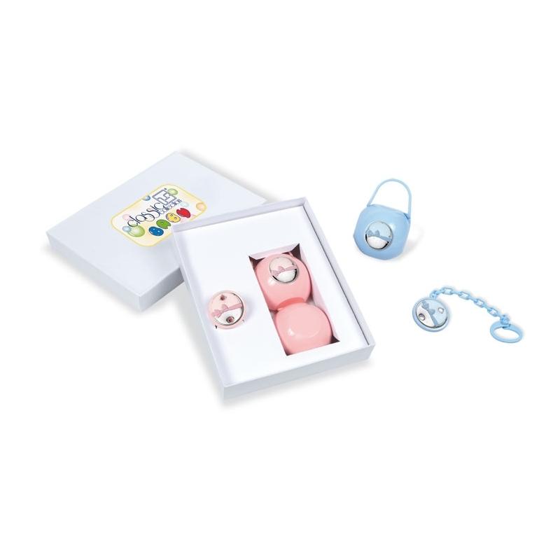"""Portachupete y pinza para niña rosa con plata """"Lazo"""", de Italsilver."""