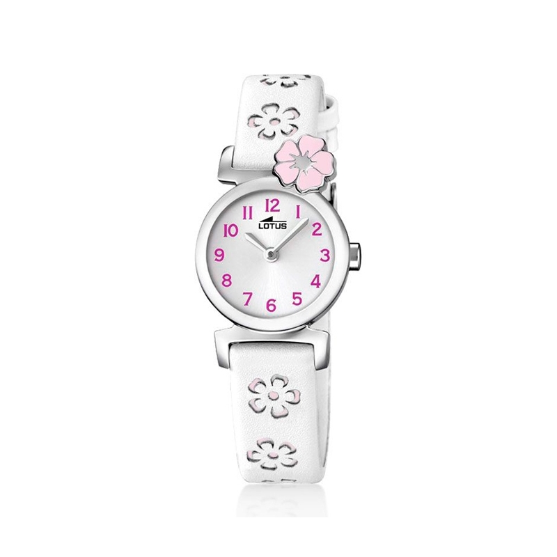 """Reloj Lotus para niña """"Junior"""" con correa piel blanca y flor ref. 18174/2"""