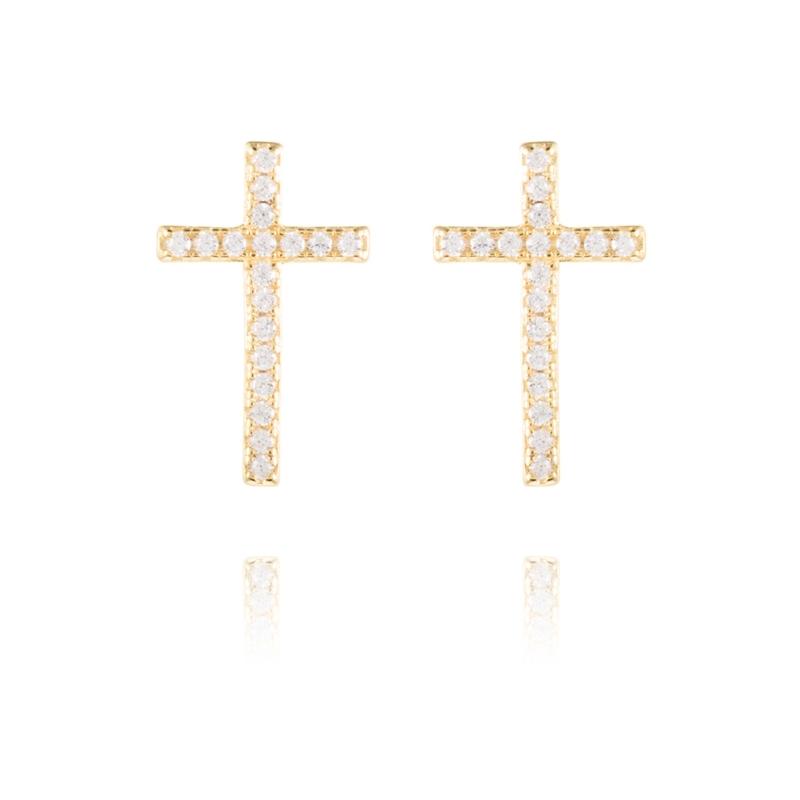 """Pendientes de plata dorado en oro, de cruz con circonitas, """"Hatau"""" de Luxenter."""
