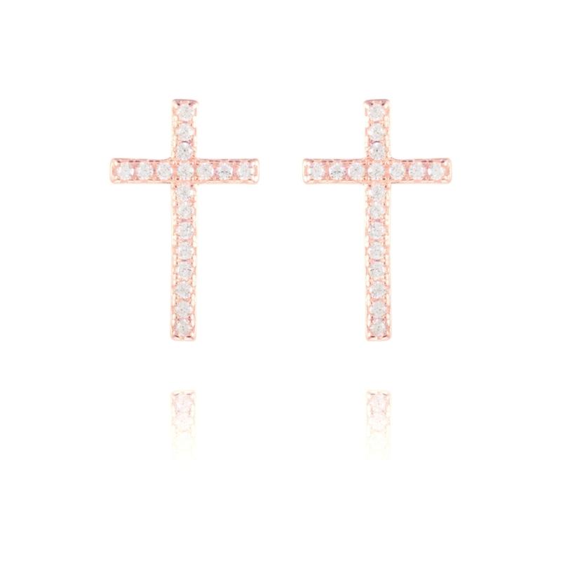 """Pendientes de plata dorados oro rojo, en cruz con circonitas, """"Elfu"""" de Luxenter."""