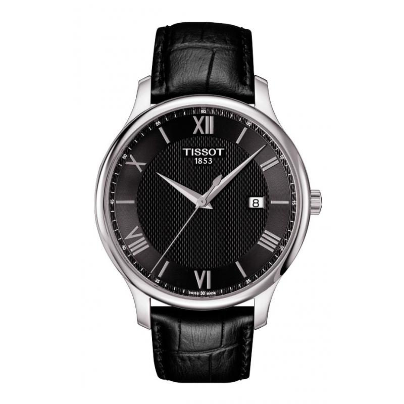 """Reloj Tissot """"Tradition"""" de hombre en negro, 3 agujas con correa piel T0636101605800"""