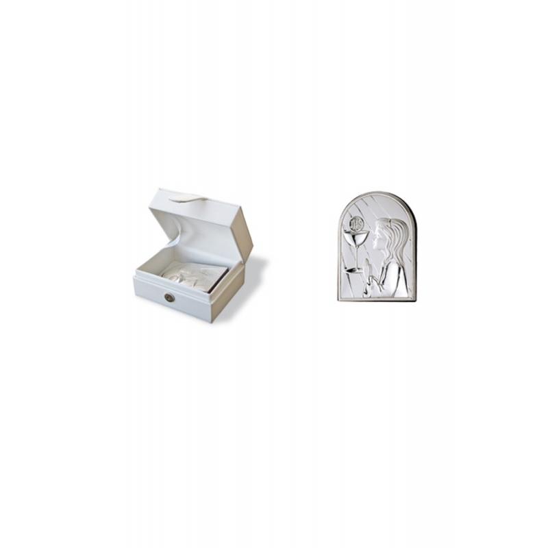 Recuerdo de la Primera Comunión en plata con caja piel blanca, de Italsilver.