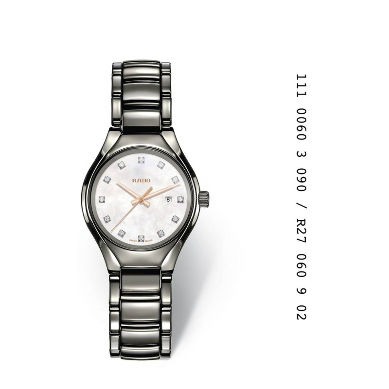 """Reloj Rado de mujer """"True"""" en cerámica gris, esfera de nácar con diamantes R27060902"""