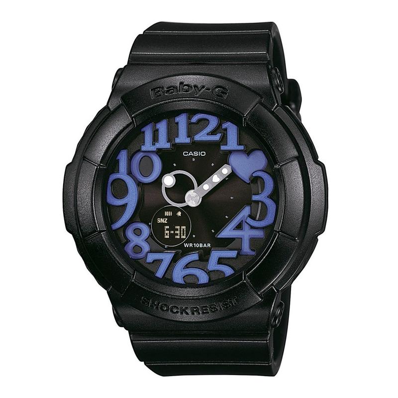 Reloj Casio Baby-G de mujer, en negro con número en morado BGA-134-1BER