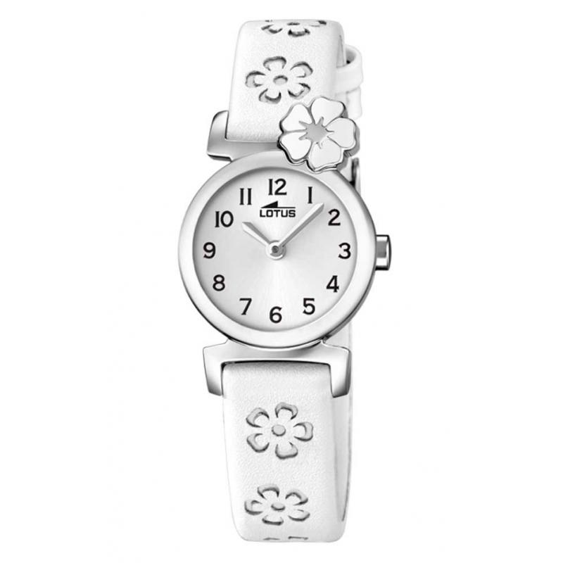 """Reloj Lotus de niña """"Junior"""" correa piel blanca con flores ref. 18174/1"""