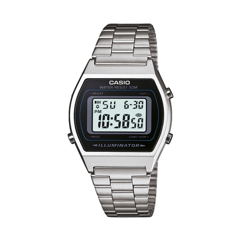 Reloj Casio Retro Collection digital plateado correa mate B640WD-1AVEF