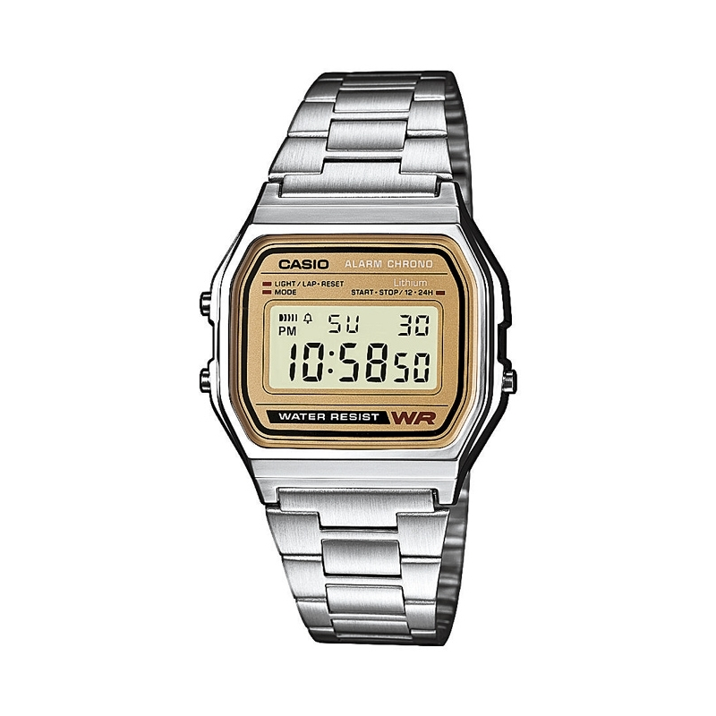 Reloj Casio Retro Collection, digital plateado con pantalla dorada A158WEA-9EF