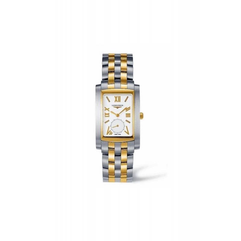 "Reloj Longines ""Dolce Vita"" rectangular de mujer de acero y oro L56705158"